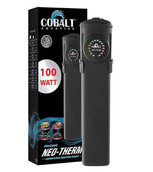 Cobalt Aquatics Flat Neo-Therm Heater with Adjustable Thermostat (Fully-Submersible, Shatterproof Design)